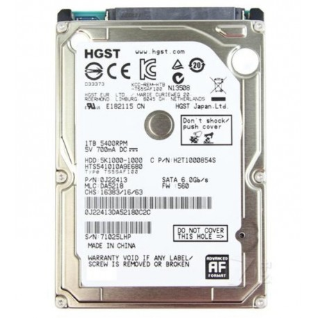 HD PARA NOTEBOOK HITACHI 1TB / SATA2 / 5400RPM / 2.5 - (HTS541010A9E680-P)