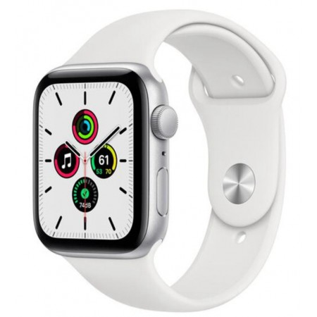 APPLE WATCH SE GPS 44MM MYDQ2LL/A - SILVER ALUMINUM WHITE SPORT BAND