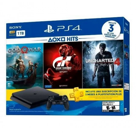 CONSOLE PLAYSTATION 4 SLIM 1TB 2115B CON GOD OF WAR UNCHARTED 4 GRAN TURISMO  PSN PLUS 3 M