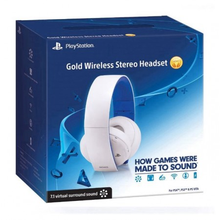 HEADSET GOLD WIRELES BRANCO PS4 E PS3