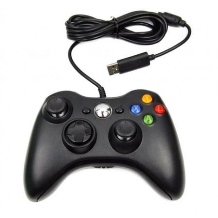 CONTROLE XBOX 360 COM FIO PRETO PARALELO COM CAIXA