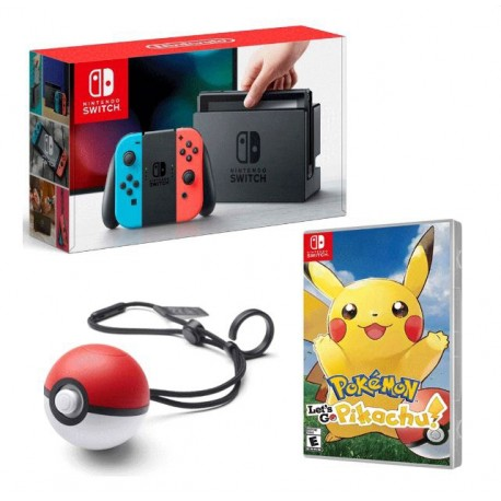 CONSOLE NINTENDO SWITCH +JOGO POKEMON LETS GO PIKACHU +POKEBALL PLUS