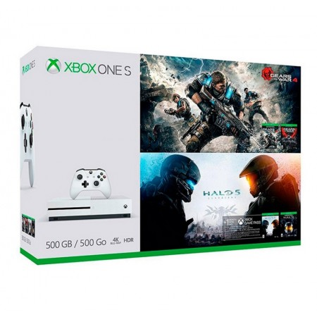 CONSOLA XBOX ONE S 500GB BUNDLE GEARS OF WAR 4 E HALO 5