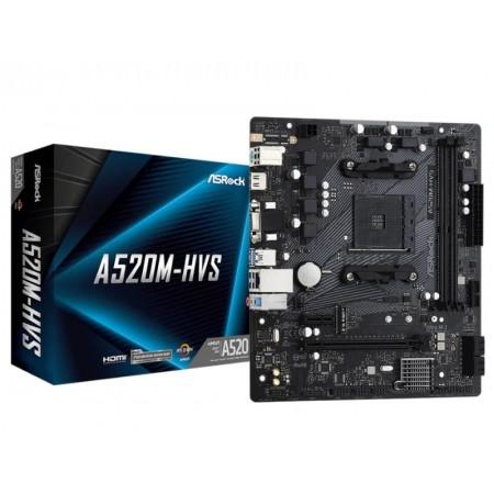 Placa mãe Asrock A520 / Soquete AM4 / DDR4 OC - (A520M-HVS)