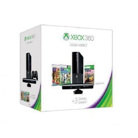 CONSOLE XBOX 360 SUPER SLIM COM KINECT 250GB 3 JOGOS