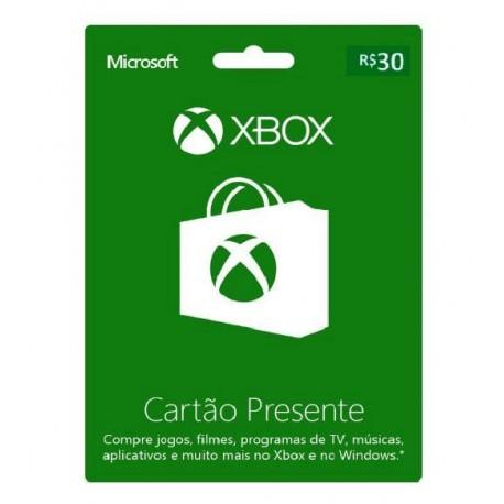 CARTÃO PRESENTE R$30 XBOX LIVE