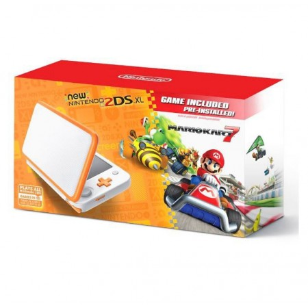 CONSOLE NINTENDO 2DS XL WHITE ORANGE COM MARIO KART 7